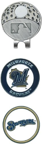 (Team Golf MLB Milwaukee Brewers Golf Cap Clip with 2 Removable Double-Sided Enamel Magnetic Ball Markers, Attaches Easily to Hats)