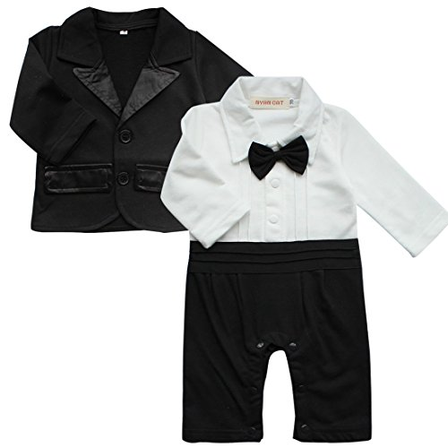 iEFiEL 2pcs Baby Boys Long Sleeve Tuxedo Wedding Romper and Jacket Black 12-18 Months