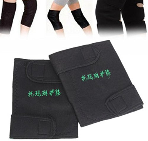 1 Pair Tourmaline Self Heating Knee Pads Magnetic Therapy Support Protector by AdvancedShop (Support Pad Hernia Flat)