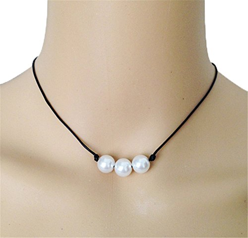 - 10mm Triple Pearl Necklace Leather Rope Necklaces Knotted Collar Freshwater Pearl Choker Friend Gift Women Necklace Boho Style (15 Inches)