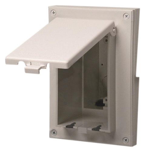 Arlington DBVR131W-1 Low Profile IN BOX Electrical Box with Weatherproof Cover for Retrofit Siding Construction, 1/4-Inch or 5/16-Inch Lap, Vertical, White -