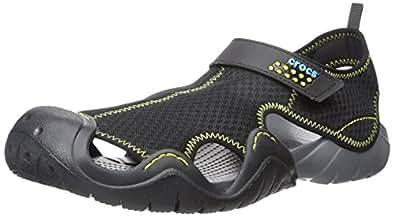 crocs Men's Swiftwater Sandal,Black/Charcoal,7 M US