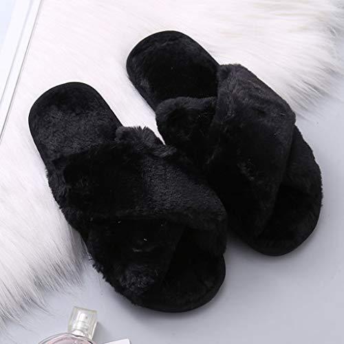 Ouvert Noir Ipotch À Femmes Peluche Pantoufles Hiver Chaussons Bout 8ABAXRx
