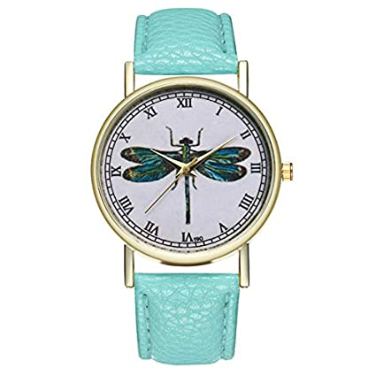 Lindsie-Box - Minimalist Women Wrist Watch Numerals Quartz Hour Dragonfly Printed Moment Ladies Watch