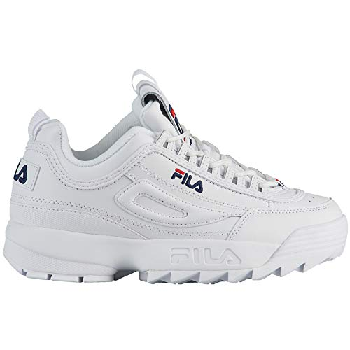 Fila Youth Disruptor II Synthetic White Peacoat Red Trainers 4 US