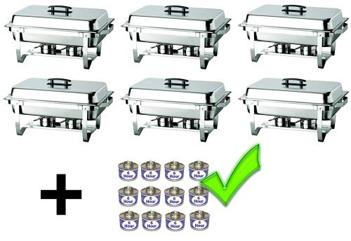 (Deli-Dish-Chafer Dish Stainless Steel Chafer Full Size 8 Quart Chafing Dishes for Catering for Buffet for special occasions Warmer Tray Kitchen Party Dining - Set of 6 chafers and 12)