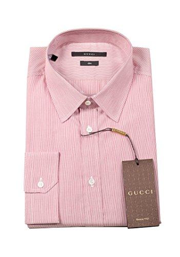 Gucci CL Striped Red White Dress Shirt Size 40/15,75 U.S. Slim