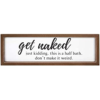 VILIGHT Bathroom Sign Wall Decor - Funny Rustic Farmhouse Decoration Housewarming Gifts - 16x5 Inches