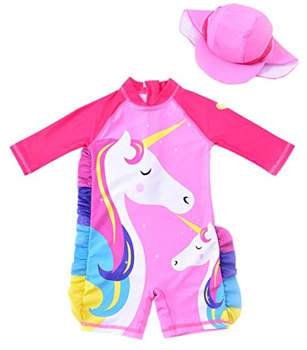 Baby/Toddler Girls UPF 50+ Sun Protection Long Sleeve One Piece Swimsuit with Zipper (2-3 Years)
