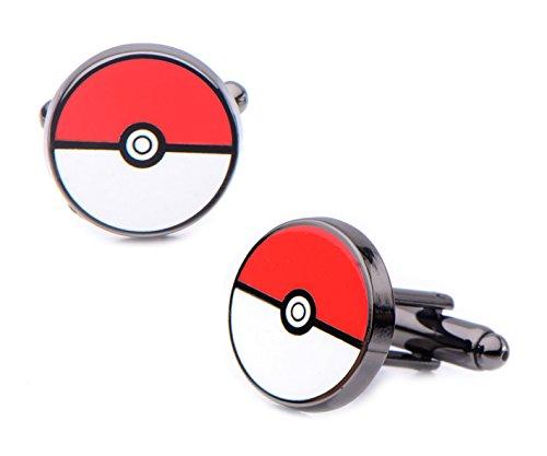Pokemon Men's Stainless Steel Black PVD Plated Poke Ball Cufflinks