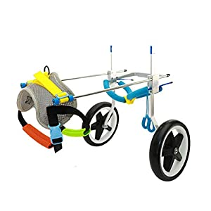 2 Wheel Dog Wheelchair Scooter Disabled Auxiliary Hind Limb Exercise Car Pet Adjustable Rehabilitation Wheelchair (Size… Click on image for further info.