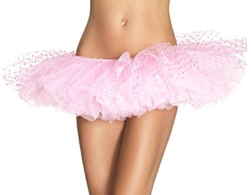 Flocked Polka Dot Mesh - Tulle Tutu With Mesh Flocked Polka Dot Top Layer O/S Black (Light Pink;One Size)