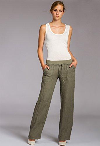 Pantaloni Lino Verde di KHS025 Donna CASPAR Oliva 0Hw6E6