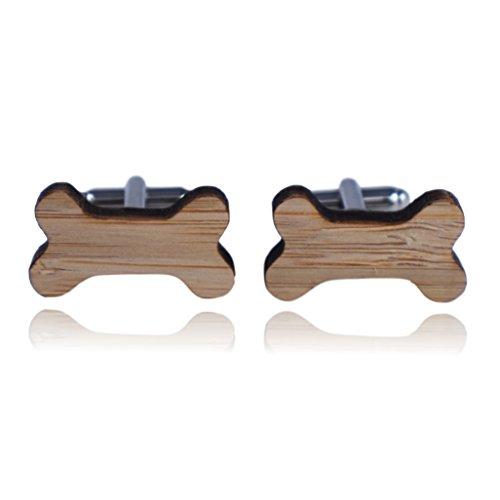 - Dog Bone Wood Cuff Links