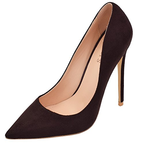 Lovirs Womens Pointed Toe High Heel Slip on Stiletto Pumps Wedding Party Basic Shoes Brown Suede ZwEGNJGUIc