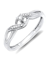 0.06 Carat (ctw) Sterling Silver Round Diamond Ladies Crossover Swirl Bridal Promise Engagement Ring (Size 5)