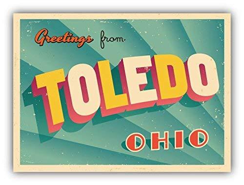 Venu67Hol Toledo City USA Vintage Greeting Label Home Decal Vinyl Sticker 5 X 4 inches