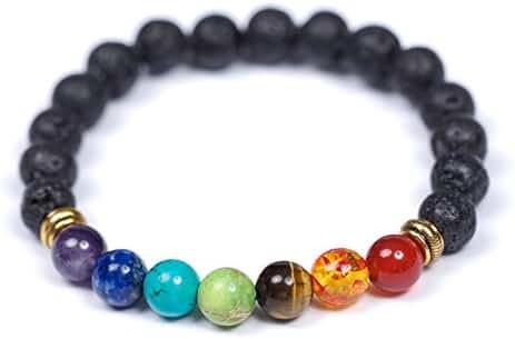 Jewelry Yoga 7 Chakra Healing Bracelet with Real Stones Men's and Women's, Volcanic Lava, Mala Meditation Bracelet, 7-inch long