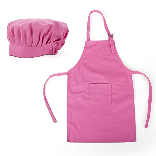 - Opromo Colorful Cotton Canvas Kids Aprons and Hat Set, Party Favors(S-XXL)-Hot Pink-L