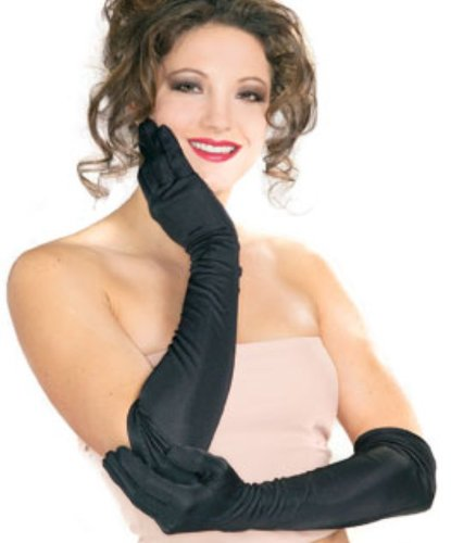 Secret Wishes Long Black Nylon Costume Gloves, Black, One Size