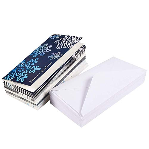 36 Pack Merry Christmas Holiday Greeting Card Xmas Money And Gift Card Holder Cards In 6 Cute Snowflake Designs Bulk Assorted Winter Holiday Cards