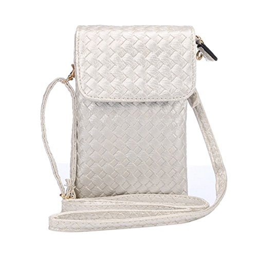 PU Leather Woven Pattern Cute Cellphone Pouch Bag for Apple iPhone Samsung Galaxy and Other Smartphone Style1-Silver (Wish Cell Phone Charm)