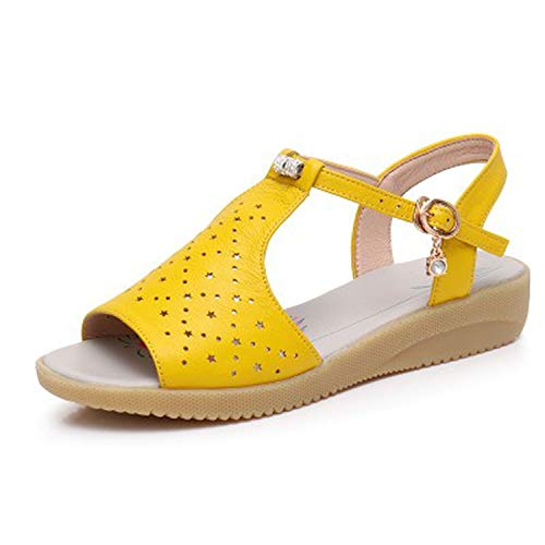 2018 Genuine Leather Women Sandals Fashion Summer Sweet Flats Heel Sandals Ladies Shoes,Yellow,8.5