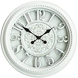 White Chevalier Emblem Simulated Wall Clock, Quartz, ABS Glass Front Cover, Antiquity European Style, Brushed Metallic Paint Surface Texture, Partially Hollow Frame Design( Cream white)