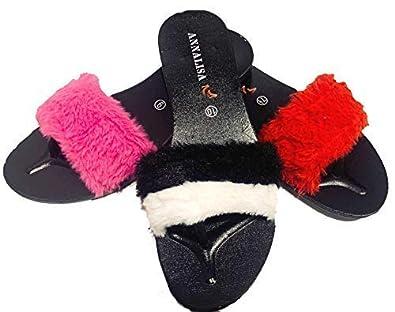 7cd01e1281d43 Amazon.com | Annalisa Faux-Fur Slide Sandals Flip Flop Soft Slide ...