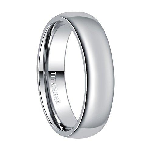6mm Titanium Plain Dome High Polished Wedding Band Ring Comfort Fit Size 4-15 £¨Titanium, 10.5)