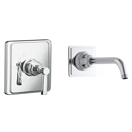 (KOHLER Pinstripe Showerarm and Flange Temp Pressure Valve Trim - Polished Nickel)