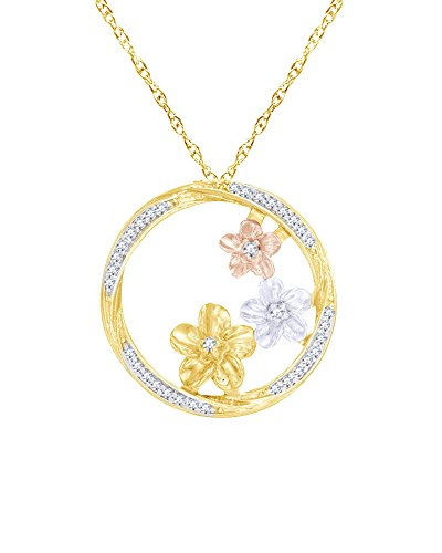 Triple Pinwheel (Diamond Triple Pinwheel Flower Swirl Circle Pendant in 14K Gold Over Sterling Silver (0.20 Cttw))