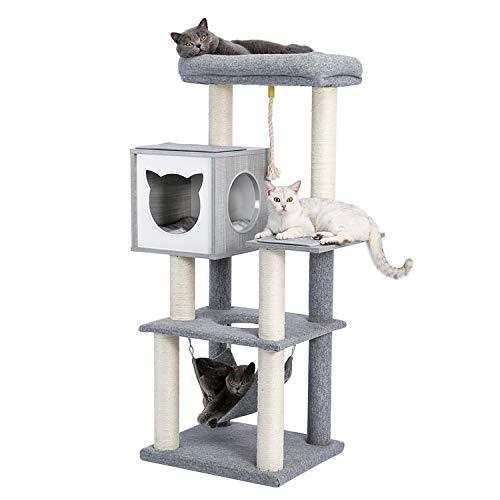 PAWZ Road lujo Árbol rascador para gatos, Árbol para Gatos Rascador con Hamaca y postes de sisal, Actividad del Centro…