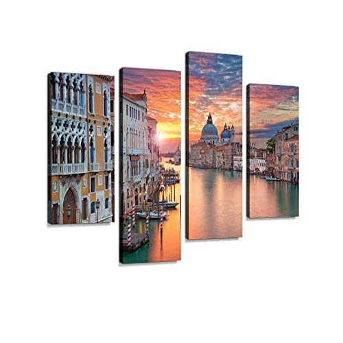- Venice. Canvas Wall Art Hanging Paintings Modern Artwork Abstract Picture Prints Home Decoration Gift Unique Designed Framed 4 Panel
