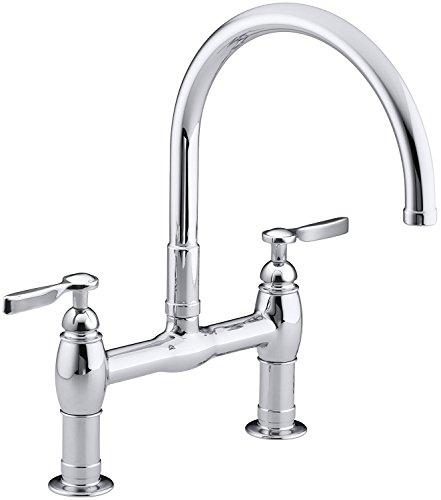 KOHLER K-6130-4-CP Parq Deck-Mount Kitchen Bridge Faucet, Polished Chrome