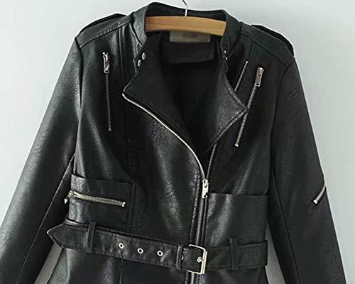 Pelle Corta Giacché Pu Nero Con Vita In Cintura Donna Casual Giacca Cappotto Zip Motorcycle wqSn5Oxz8P