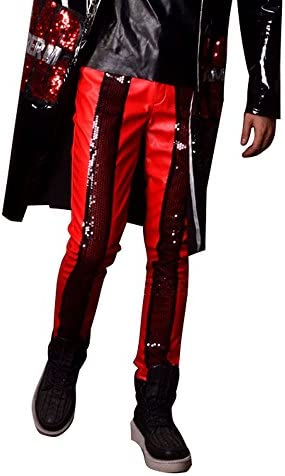 Men`s Customize Long Leather Trench Jacket & Pant Fashion Hip Hop Sequins Cardigan Coat Party Jacket Trousers
