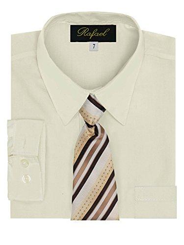 Boy's Dress Shirt & Tie - Ivory, 4