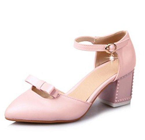 Cinturino Con Cinturino Alla Caviglia Con Cinturino Alla Caviglia E Punta A Metà Dei Sandali Con Tacco Medio Rosa