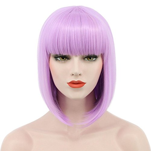 Karlery Women Short Straight Bob Fasion Wig Flat Bangs Cosplay Party Wig Costume Halloween Wig (Purple)