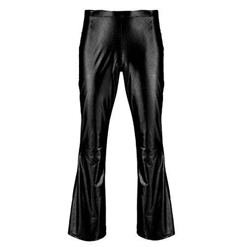 ranrann Mens Shiny Metallic Fashion Holographic Disco Slim Fit Pants Flare Bell Bottom Long Trousers Dude Costume Black Large