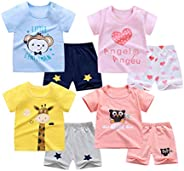 100% Cotton Kids Summer Girl's T-Shirt Shorts Toddler Pajamas 4