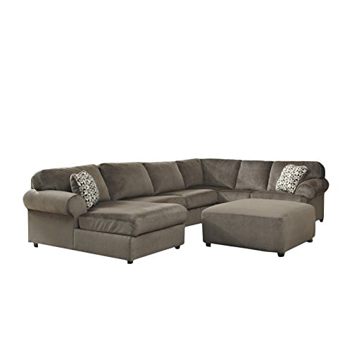 Ashley jessa place 4 piece microfiber left chaise for 4 piece sectional sofa microfiber