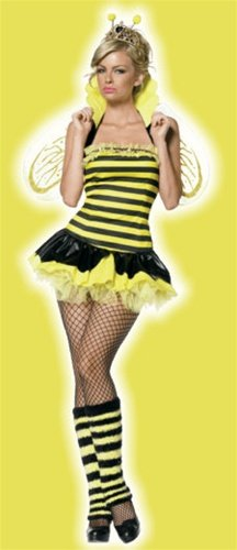 Cute Bumble Bee Halloween Costume (Leg Avenue Women's Queen Bee Costume, Yellow/Black,)