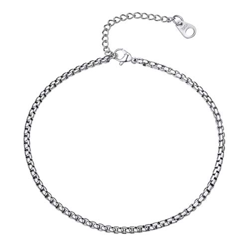 U7 Box Chain Anklets Stainless Steel 3MM Wide Round Links Bracelet 25-30CM Long (Bracelet Link 3 Round)