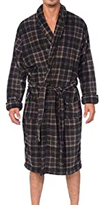 Wanted Men's Lounge Bathrobe Plush Micro Fleece with Front Pockets (Grey/Black Plaid, Small/Medium)