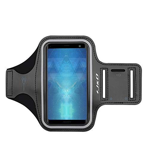 J&D Armband Compatible for Xperia XZ3 Armband/Xperia XZ4 Armband, Sports Armband with Key Holder Slot for Sony Xperia XZ3, Sony Xperia XZ4 Running Armband, Perfect Earphone Connection - Black