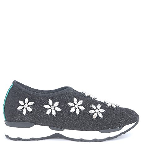 Slip-On Philippe Model Madame en seda negra con Swarovski Negro