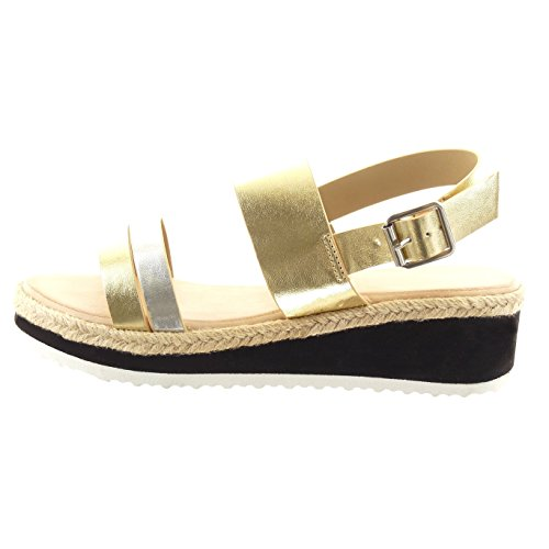 Sopily - damen Mode Schuhe Sandalen String Tanga Schleife Seil - Gold