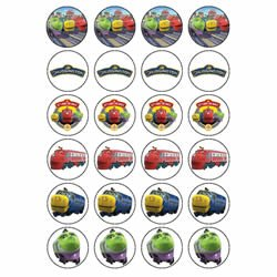 Chuggington style 24 Edible Wafer Paper FairyCup Cake Toppers on